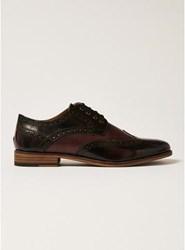 Topman Red Burgundy Leather Hale Brogues