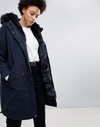 Parka London Connie Military Coat With Faux Fur Lining Navy