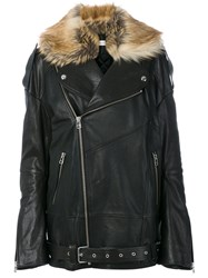 Faith Connexion Faux Fur Trim Leather Jacket Women Calf Leather Lamb Skin Modacrylic Polyester Xs Black