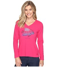 Life Is Good Tropical Fish Engraved Long Sleeve Crusher Vee Pop Pink Women's T Shirt