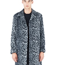 Saint Laurent Leopard Print Faux Fur Coat Black