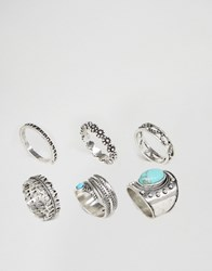 Asos Festival Stone Ring Pack Antique Silver