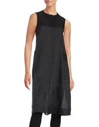 Lafayette 148 New York Button Front Knit Tunic Black