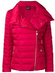 Emporio Armani Ea7 Oversized Collar Puffer Jacket Red