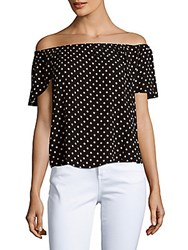 Romeo And Juliet Couture Flyaway Polka Dot Print Off The Shoulder Top Black White
