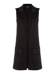 Therapy Suede Sleeveless Jacket Black