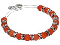 Alex And Ani Earth Red Independence Beaded Bangle Rafaelian Silver Bracelet
