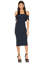 Kendall Kylie Ruffle Midi Dress Navy