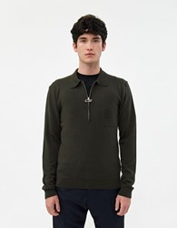 Cmmn Swdn Curtis Zip Sweater In Moss Green
