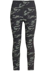 Monrow Woman Cropped Printed Stretch Leggings Army Green