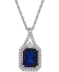 Macy's Lab Created Blue Sapphire 3 Ct. T.W. And White Sapphire 1 4 Ct. T.W. Pendant Necklace In Sterling Silver
