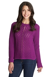 1.State Loose Knit Crewneck Sweater Bright Fig