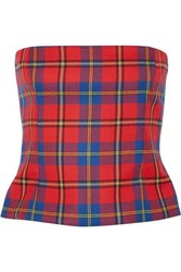 Versace Tartan Wool Bustier Top Red