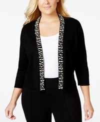 Calvin Klein Plus Size Bead Trim Knit Shrug