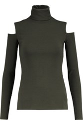 Bailey 44 Cutout Ribbed Stretch Knit Turtleneck Top Army Green