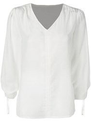 Jovonna Ruched Fitted Blouse White