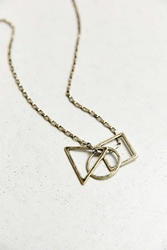 Urban Outfitters Circle Square Triangle Necklace Gold