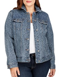 Lucky Brand Plus Cheetah Printed Denim Jacket Blue