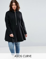 Asos Curve Swing Coat With Full Skirt Black