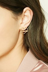 Forever 21 Love Cutout Stud Earrings Gold