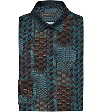 Salvatore Ferragamo Chevron Print Silk Shirt Blue Multi