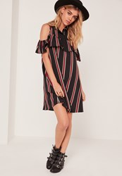 Missguided Collar Multi Stripe Ruffle Shift Dress