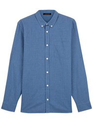 Jaeger Cotton Flannel Gingham Shirt Blue