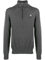 Paul Smith Ps Zipped Turtle Neck Sweater Grey