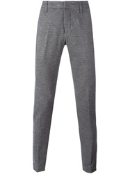 Dondup Herringbone Pattern Tapered Trousers Grey