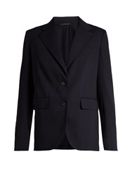 The Row Nodler Single Breasted Wool And Silk Blend Jacket Navy