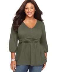 Ny Collection Plus Size Three Quarter Sleeve Ruched Empire Waist Top Eden