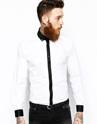 Lambretta Shirt With Contrast Placket Whitewithblack