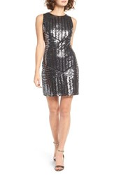 One Clothing Women's Geometric Sequin Minidress Grey Black