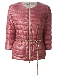 Herno Chain Belt Padded Jacket Red