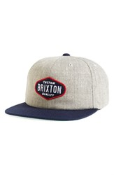 Brixton Men's Oakland Snapback Cap Grey Light Heather Grey