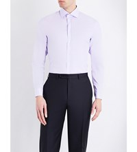 Armani Collezioni Modern Fit Houndstooth Cotton Shirt Lilac
