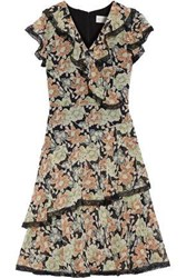 Mikael Aghal Woman Wrap Effect Ruffled Floral Print Georgette Dress Black
