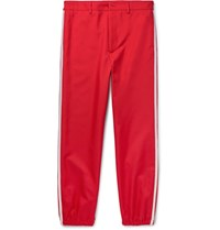 Gucci Slim Fit Cropped Embroidered Grosgrain Trimmed Twill Trousers Red