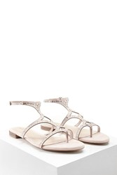 Forever 21 Rhinestone Faux Suede Sandals Blush