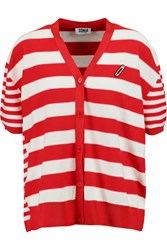 Sonia Rykiel Striped Cotton Blend Cardigan Red