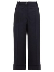 Valentino Wide Leg Wool Blend Trousers Navy