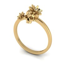 Antoanetta 14K Yellow Gold Skull Ring With Flowers5