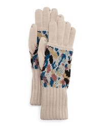 Missoni Speckled Knit Gloves Cream Blue