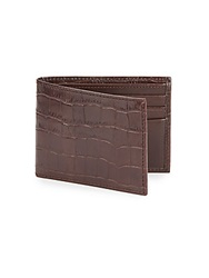 Cole Haan Croc Embossed Leather Bifold Wallet Chocolate