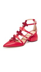 Anya Hindmarch Block Heel Caged Sandals Red