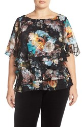 Plus Size Women's Alex Evenings Floral Print Tiered Chiffon Blouse Black Multi
