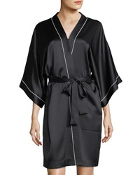 Neiman Marcus Contrast Trim Silk Short Robe Black