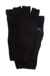 Rogue Knit Fingerless Glove With Suede Black