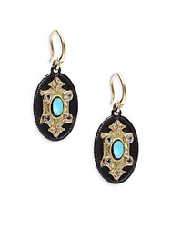 Armenta Old World Diamond Sapphire Reconstituted Turquoise Rainbow Moonstone 18K Yellow Gold And Sterling Silver Drop Earrings