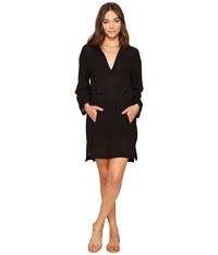 Seafolly Hooded Crinkle Twill Cover Up Black Women's Swimwear